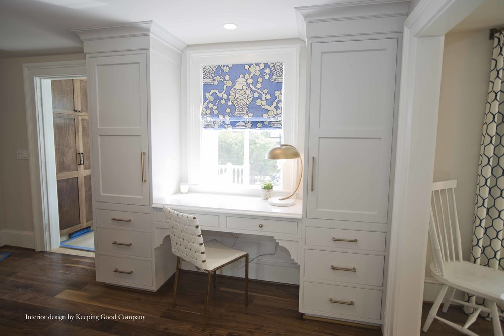 Cabinetry with Large Cove Molding and Fascia