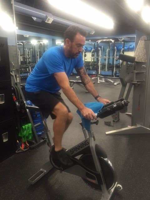 Kevin getting a quick indoor cycling workout done while he had a gap in his busy schedule.