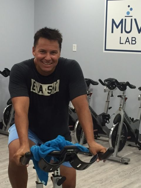Chris frequently finishes his strength and HIIT workouts by joining the last 30 minutes of spin class.
