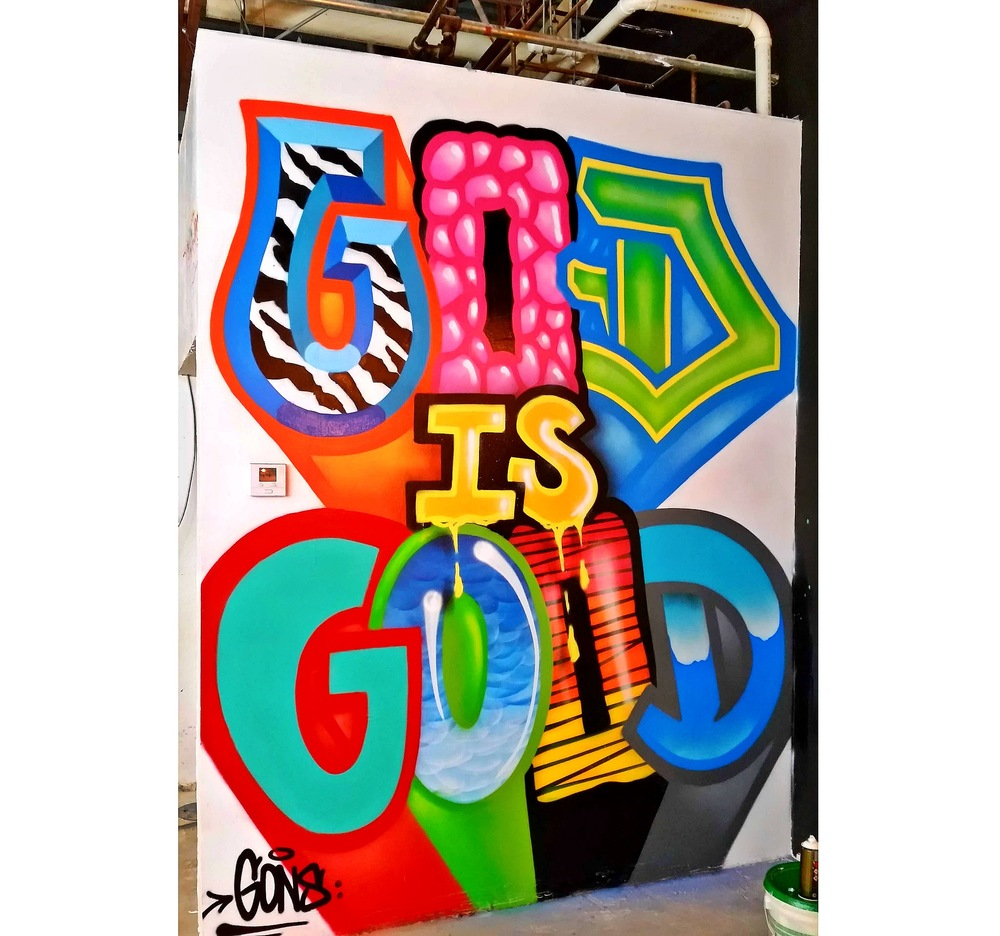 God is Good mural for The Spot barbershop Little Havana, Fl