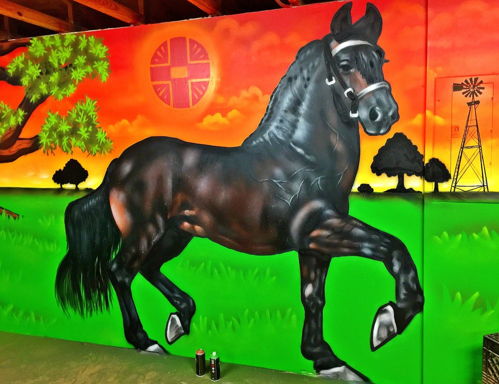 Horse mural private gym Horse Country, Fl