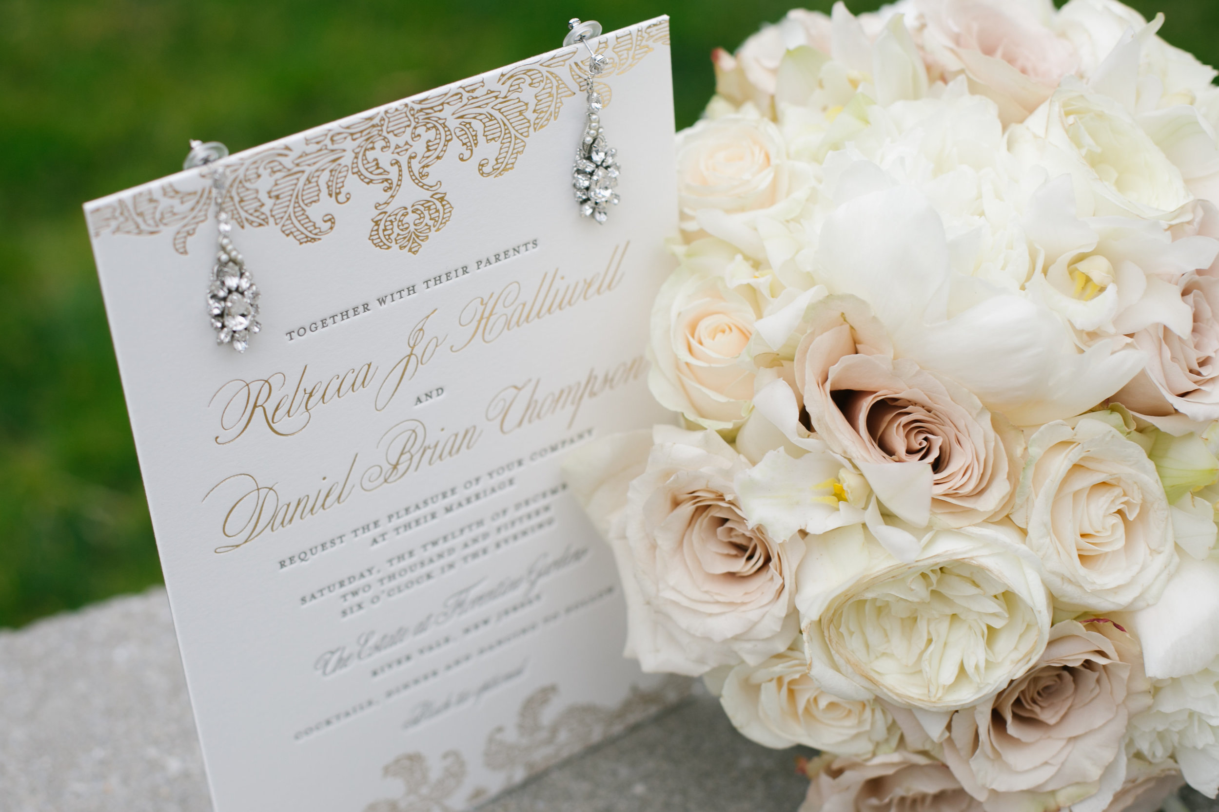 golden damask invitations — ceci style