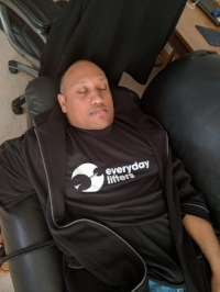 The first follower sleeping on the job, but looking super fly doing it in his Everyday Lifters' shirt. He is wearing a Large.