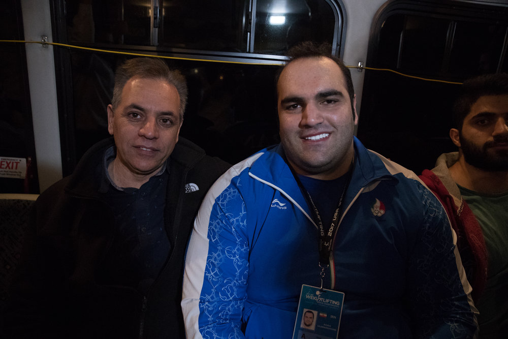 Behdad Salimi casually posing for a photo on the shuttle bus back to the hotel.  The first picture I took he was very serious.  I asked him to smile because I thought a smile looked great on him.  So he sat up and gave me the biggest smile ever. The best!!! (Yes, it was a bit surreal). Ian, back me up on this story.  You were sitting there watching the entire thing unfold.  ha!