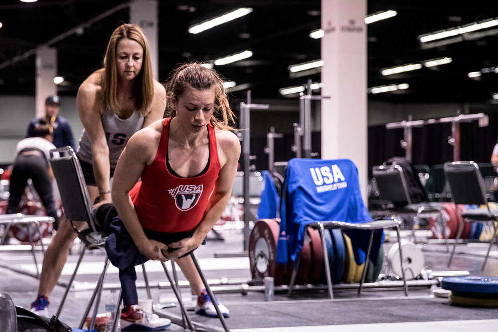 Jessica  and Amy, These two here... wow... so much heart.  I really liked watching how they interacted and the trust they have in one another is something I hope all weightlifters have with their coaches.