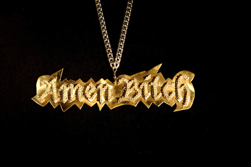 """Amen Bitch"" 2006, Brass, Aluminum, Rhinestones"