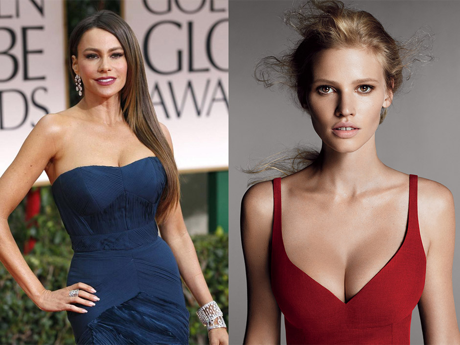Both Sofia Vergara, left, and Laura Stone, right, wear flattering shapes that fit - not flatten - their full chests. REUTERS, Mert Alas and Marcus Piggot / Vogue
