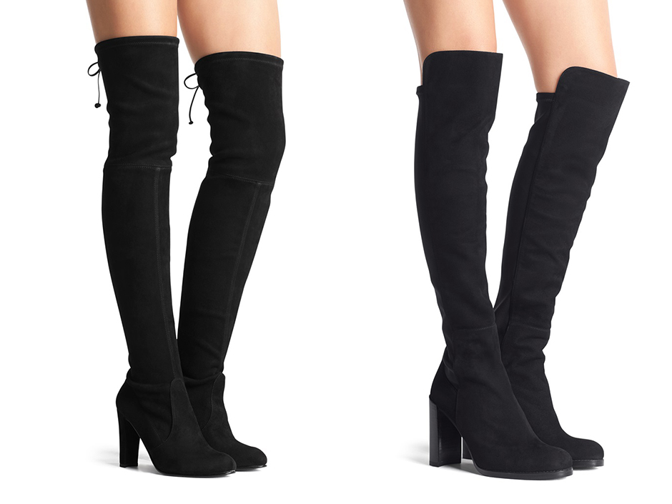Left: The Highland Boot, Right: The Hijack Boot Stuart Weitzman
