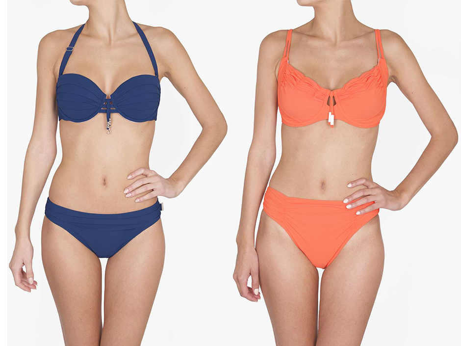The underwire Julia bikini, left, is available up to a D-cup and has removable straps. Right, the Hanna bikini is soft-cupped with underwire, designed to fit up to an E-cup. Shan