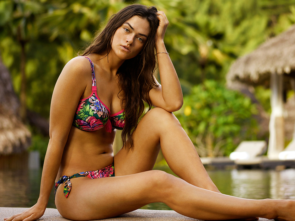 The Bossa Nova bikini in a bright jungle print fits up to a G-cup, and has both pre-shaped and underwire top options. PrimaDonna