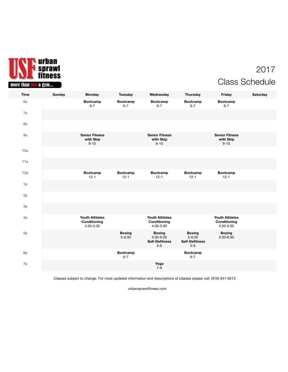 class schedule 2017