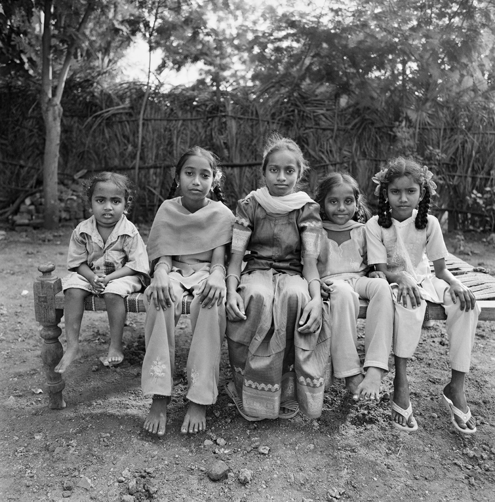 Five Young Girls on a Bench- Kottarddipalem, India