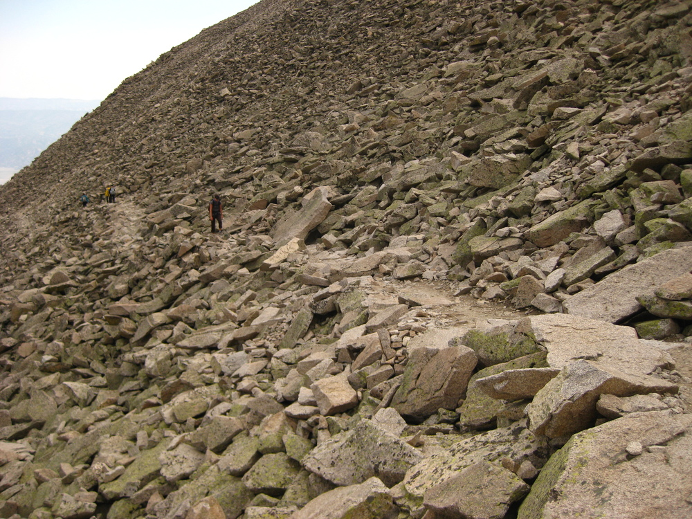 Me slogging my way up the boulder field.