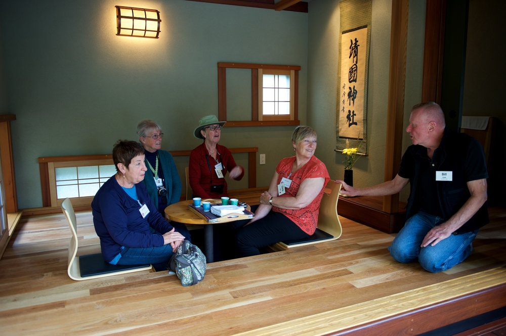 Lynn Austin; Gail Goldstone; Jackie Harris; Chris Faul; and Bill Cook enjoying Momiji-en tea in the tea house