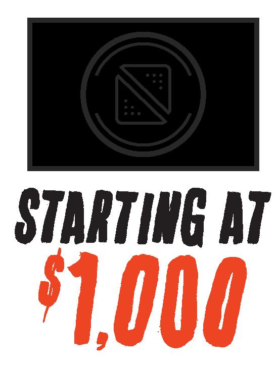 Starting at $1,000