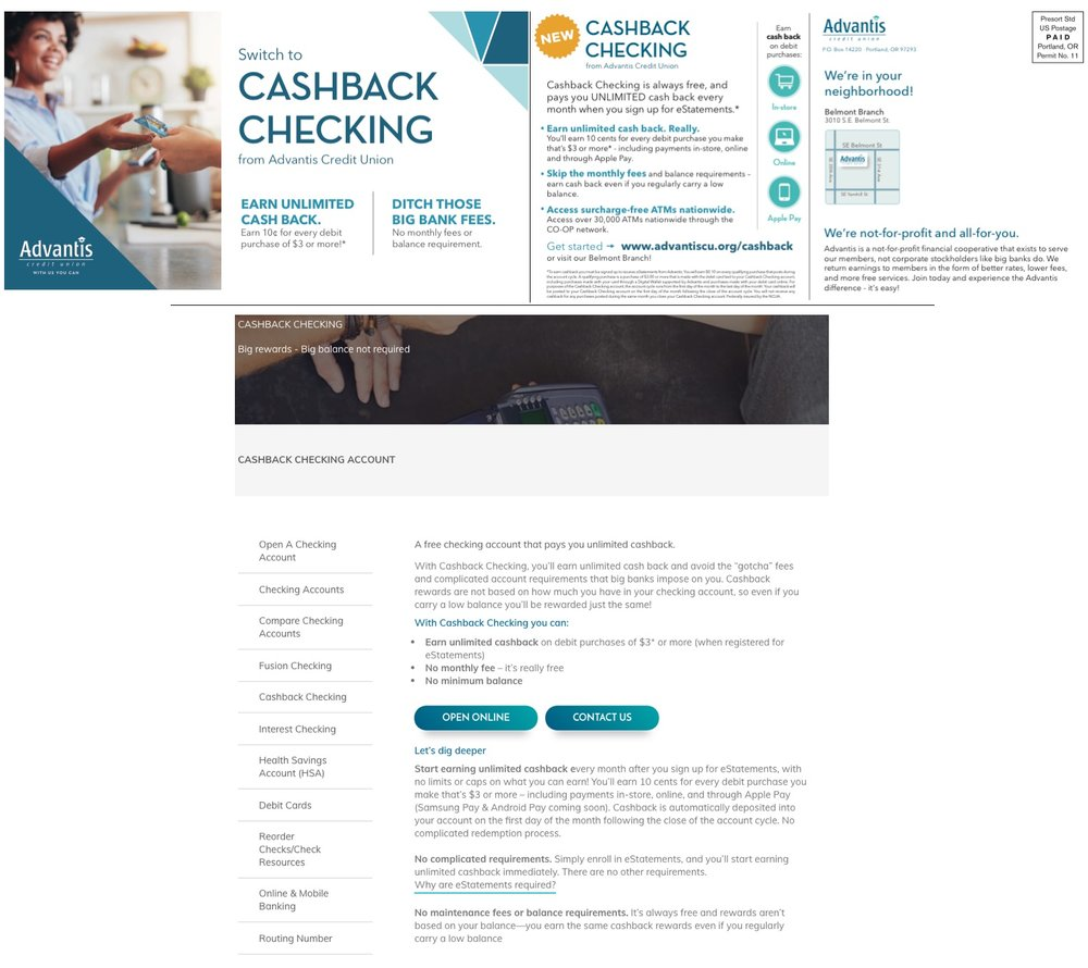Top:  Cashback Checking mailer front & back.  Download this asset.   Bottom:  Excerpt of  Cashback Checking landing page .  Download this asset.