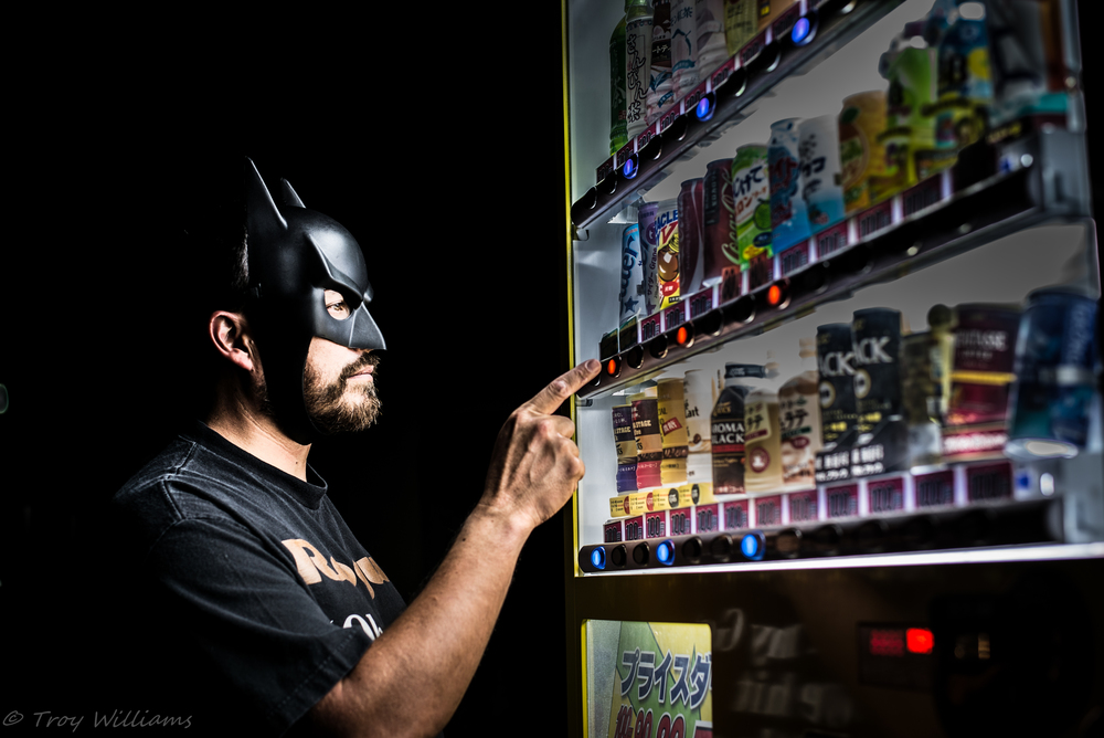 """A class project for night photography took me to many a location, such as this vending machine, to create my own images of super heroes doing all manner of things while """"off duty"""" in Okinawa"""