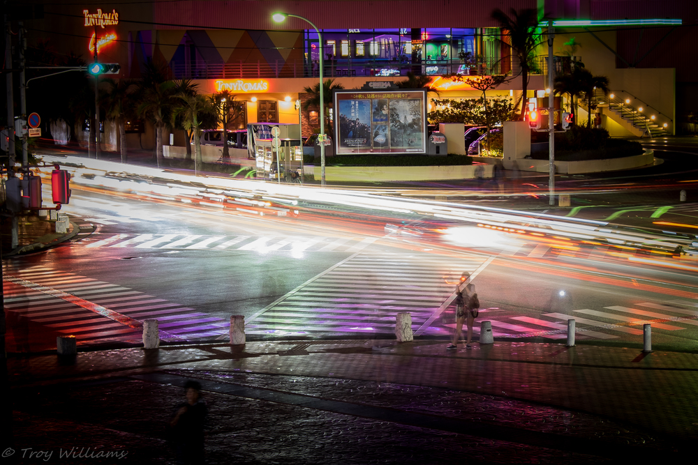 Waiting for a street fire show to start, I killed some time playing with long exposures of the American Village intersection...after Naha streets, it's probably one of the busiest intersections in Okinawa on any given day.