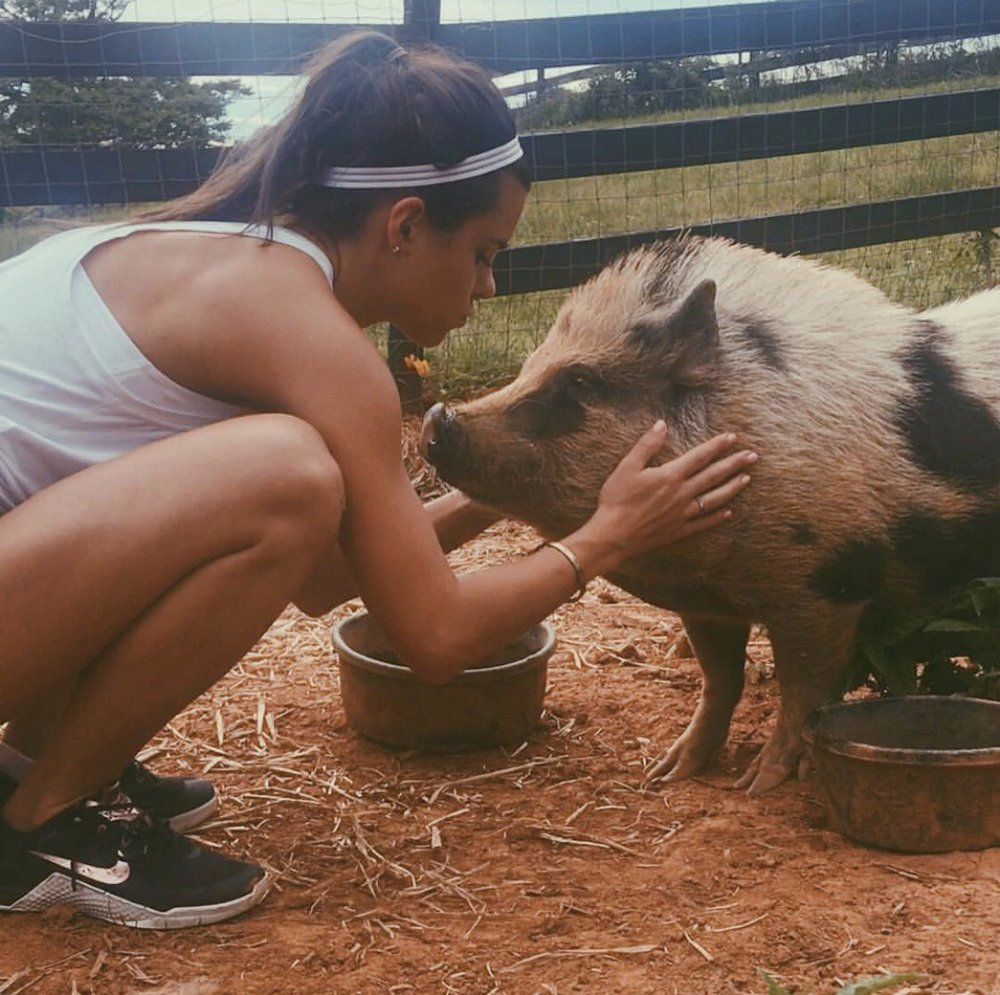 Lauren and Charlotte her pig :)