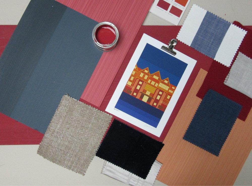 Midnight blue and orange moodboard | South Island Art