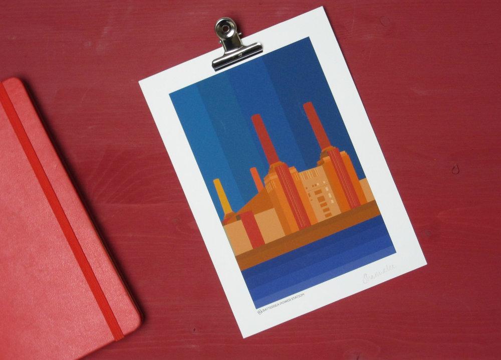 Battersea Power Station Midnight Art Print | South Island Art