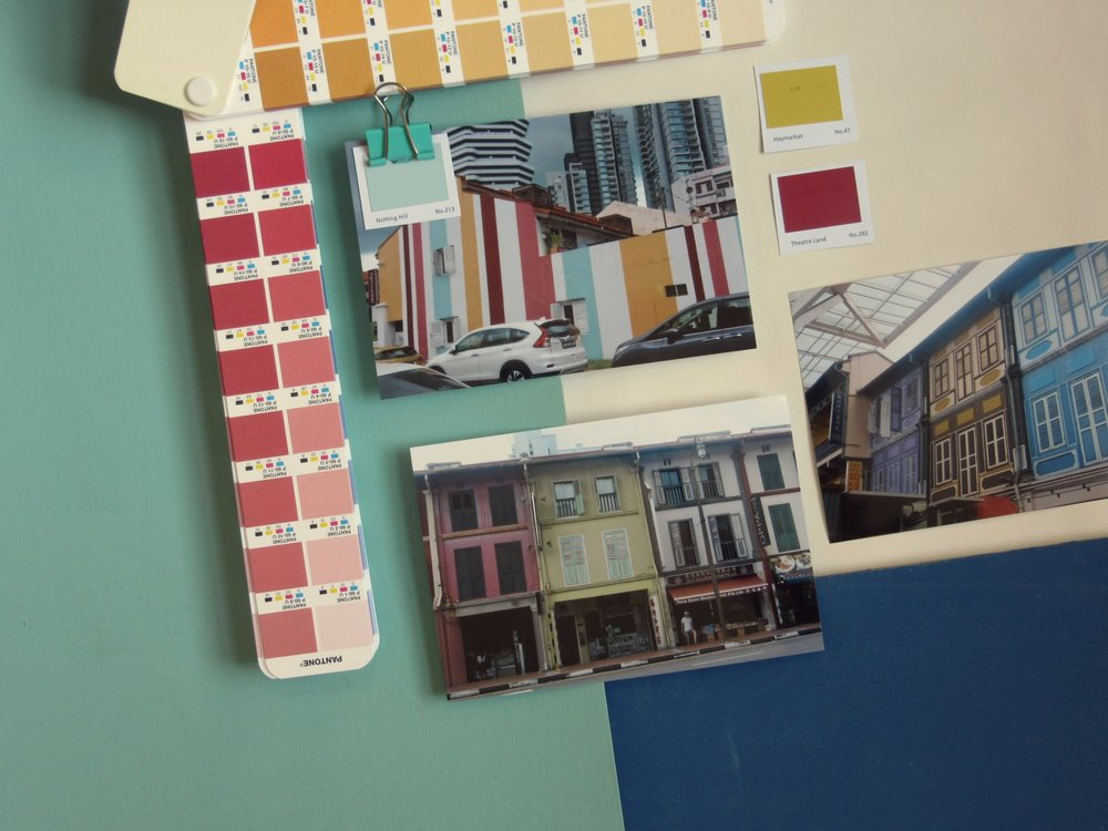 Neighbourhood city: colour pop - Paint colour inspiration from the bright neighbourhoods: (clockwise from far left) Mylands Notting Hill; Haymarket; Theatre Land