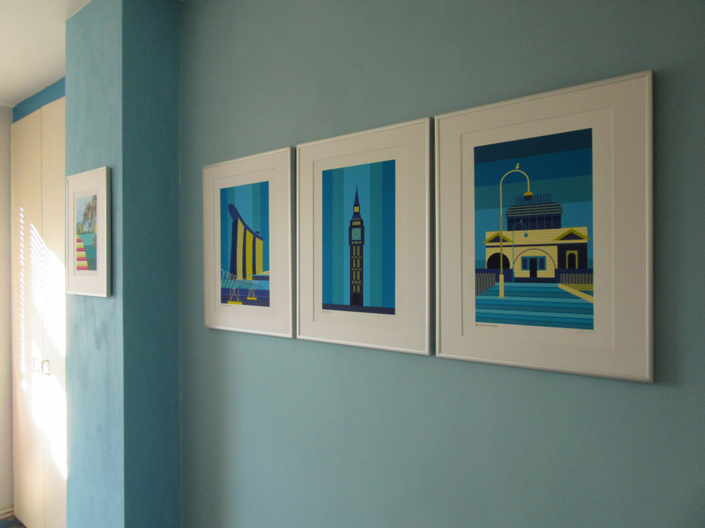 Gallery wall triptych of customised art prints