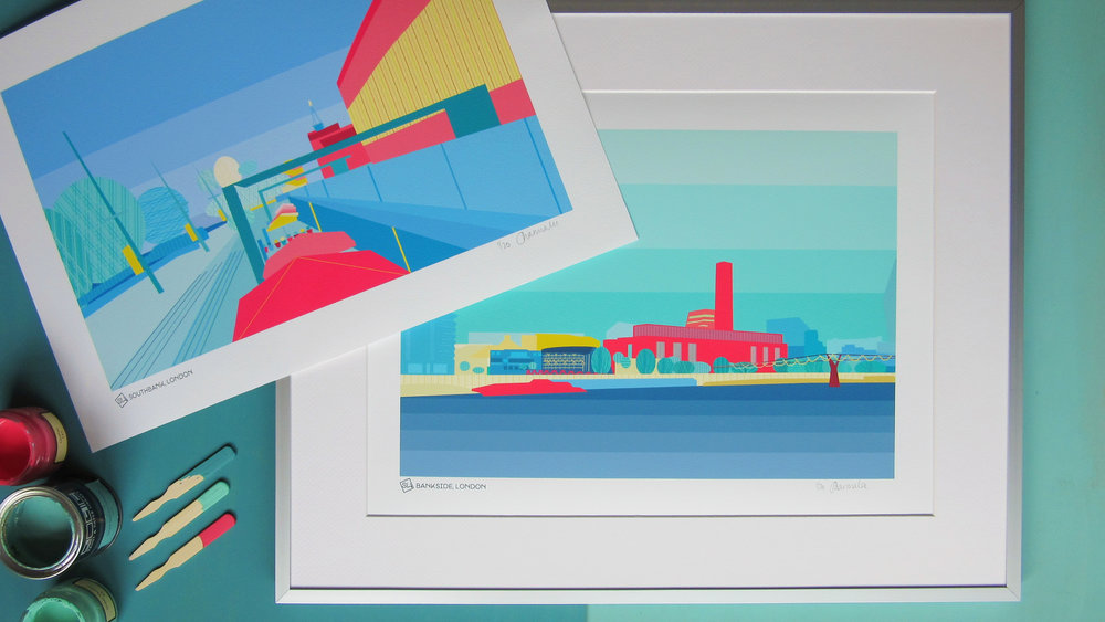 Ready-made - Limited-edition prints, mugs and placemats of memorable places in London and the UK in colours inspired by leading interior paint brands (such as Farrow & Ball and Little Greene).