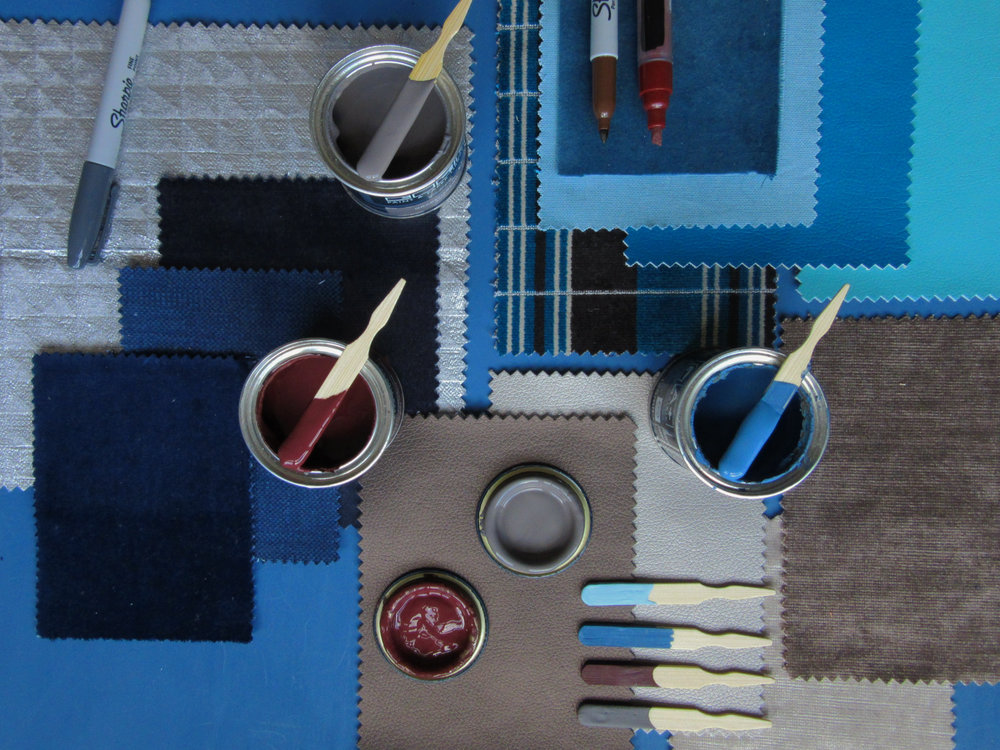 Cool evenings & cosy fires - Inky blues and rich browns dominate the background of this palette inspired by Paint & Paper Library's Blue Pearl and Georgetown. Combined with accents of steely grey (Paint & Paper Library's Drakensberg), they provide the perfect complementary base to set off the warm accent colours.
