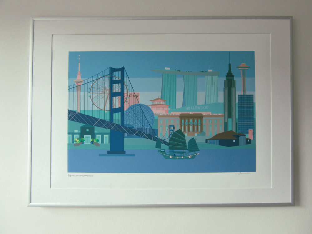 A deeply personal storyline skyline commissioned as a wedding gift for a sister and new brother-in-law -