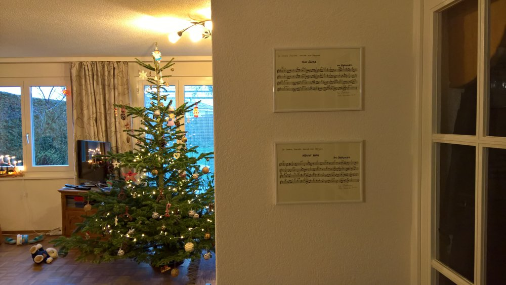 The Christmas gift scores hanging in pride of place.
