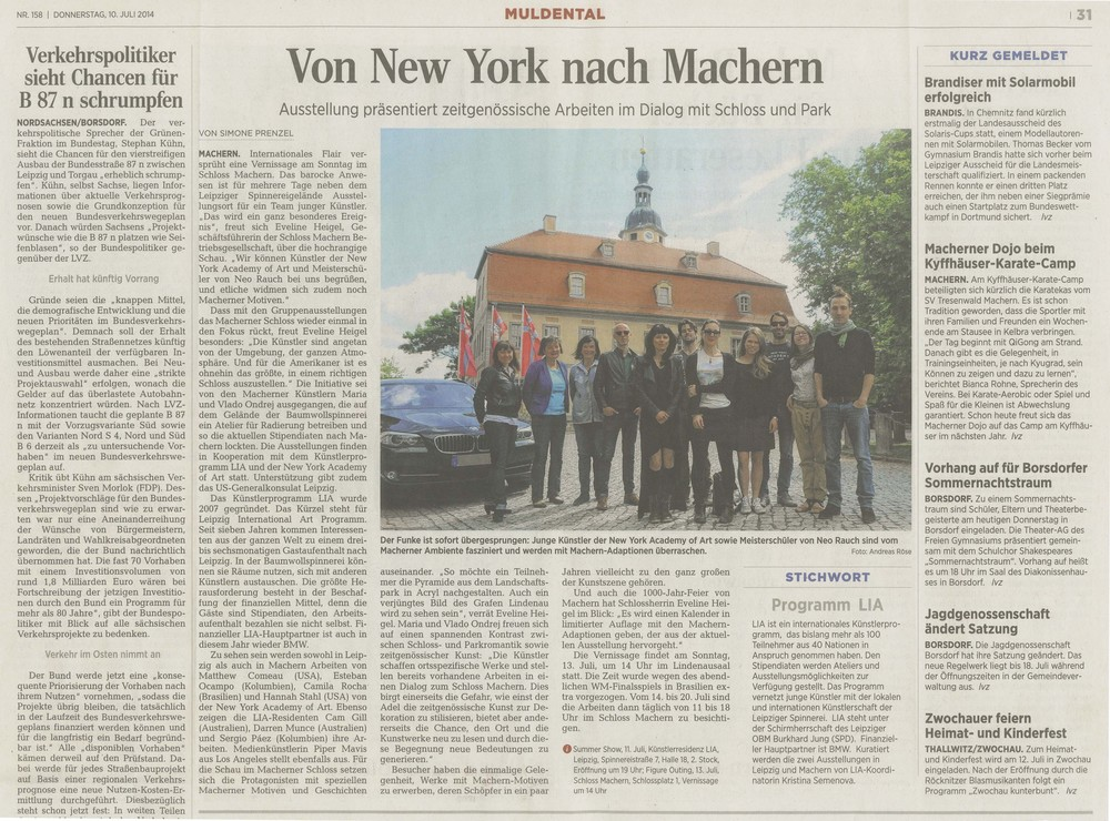 "2014        Figure Outing   , 13th of July.  Simone Pretzel, ""Von New York nach Machen"", Mundental ( Summer 2014), pg. 31."