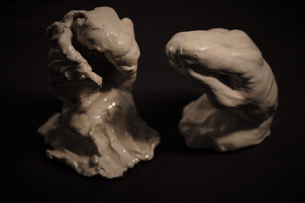 Siblings  , 2015. Clay and resin, 3 x 4 x 3 inches (7.62 x 10.16 x 7.62 cm), each piece.