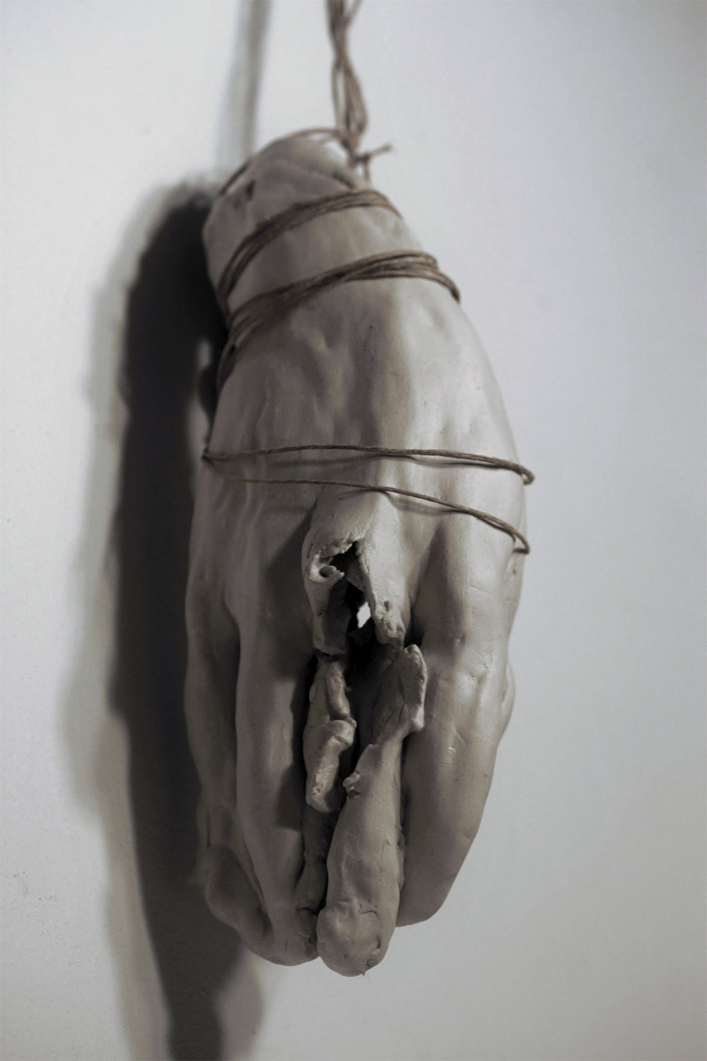Relicario II  , 2015. Clay and cord, 6 x 3 x 3 inches (15.3 x 7.6 x 7.6 cm).