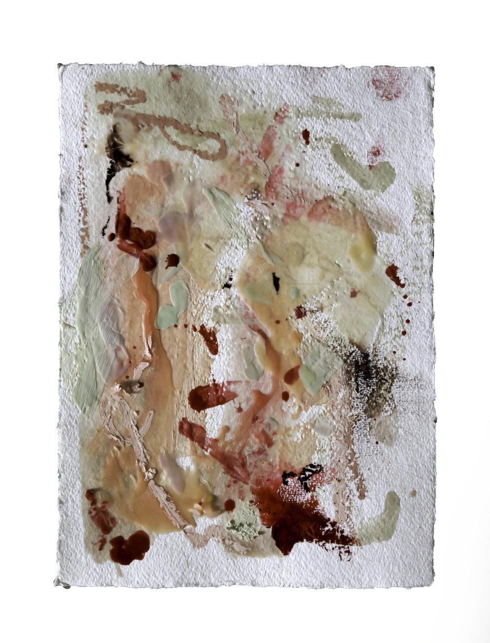 Paleta de Pele #2, 2016. Wax an oil on paper, 32 x 24 inches (81 x 61 cm).