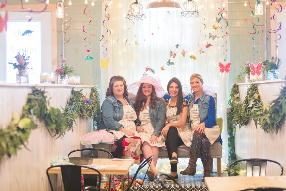 A Milkhouse Party team portrait at Mommy & Me butterfly tea party