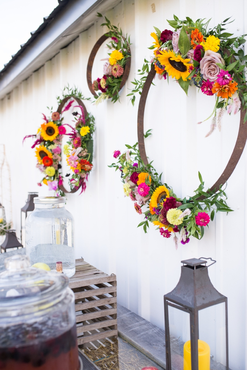 summer date - farm to table - floral hoop