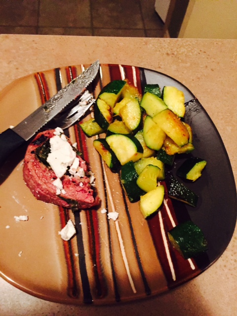 1/2 an Organic, Grassfed beef Filet with Spinach and 1 TBS Goat Cheese. Zucchini with Kerry Gold butter, Pink Salt, Turmeric and Garlic.