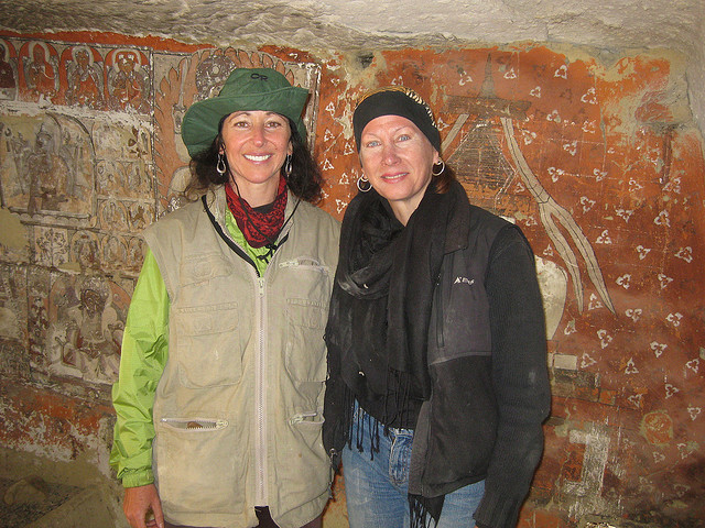Composer Dr. Andrea Clearfield and Maureen Drdak in newly discovered cave in Chosar, Nepal, 2008.