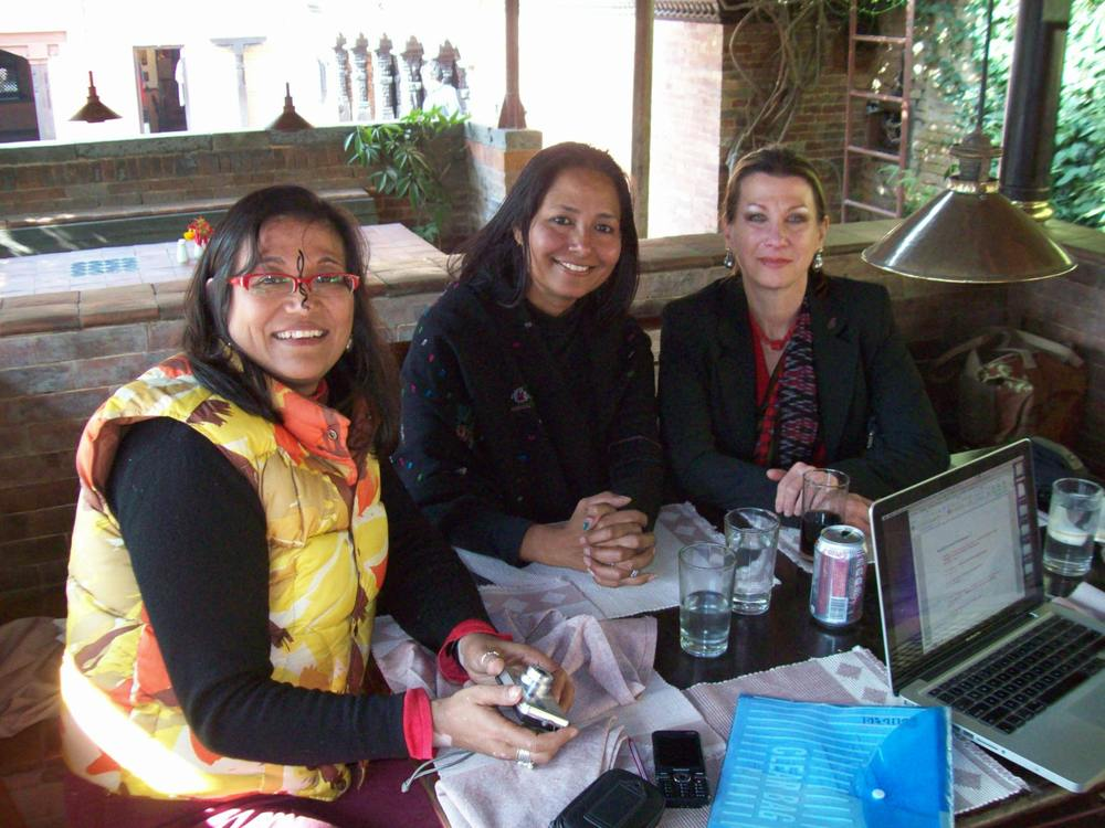 Drdak with Fulbright Fellow Ashmina Ranjit and writer Archana Thapa, Patan Museum, 2011.