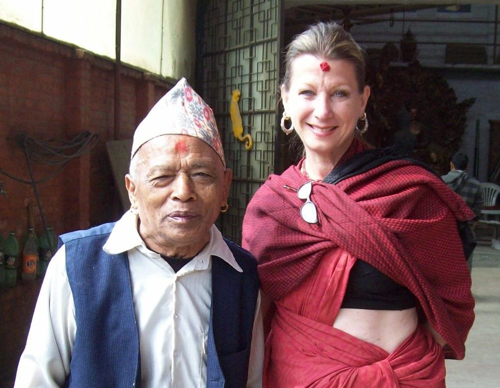 Rudra Raj Shakya, son of Kuber Singh and father of Rabindra with Drdak, 2011.