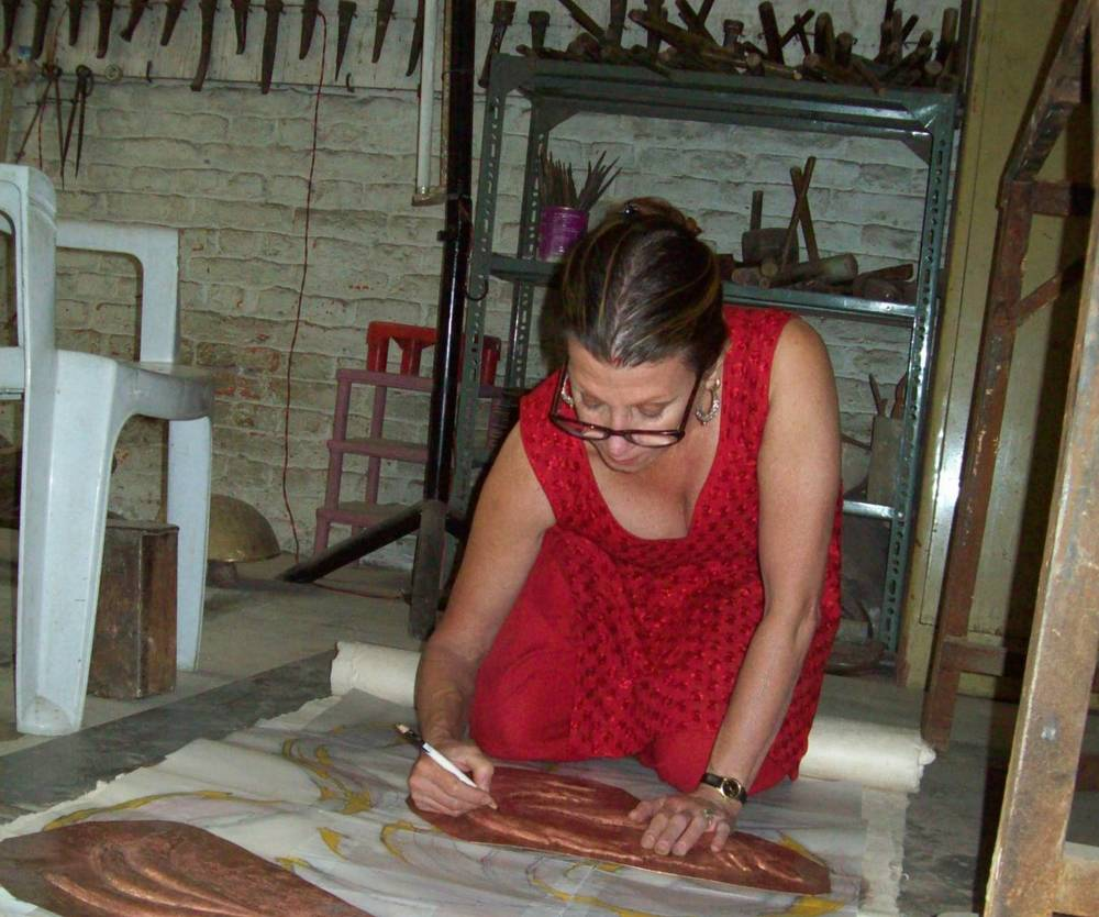 Drdak preparing repoussé for gilding at Shakya's atelier in 2012.