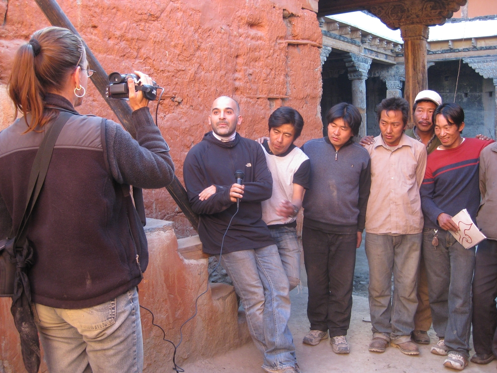 Drdak with conservator Luigi Fieni and assistants at Chambha monastery, Lo Monthang, 2008.