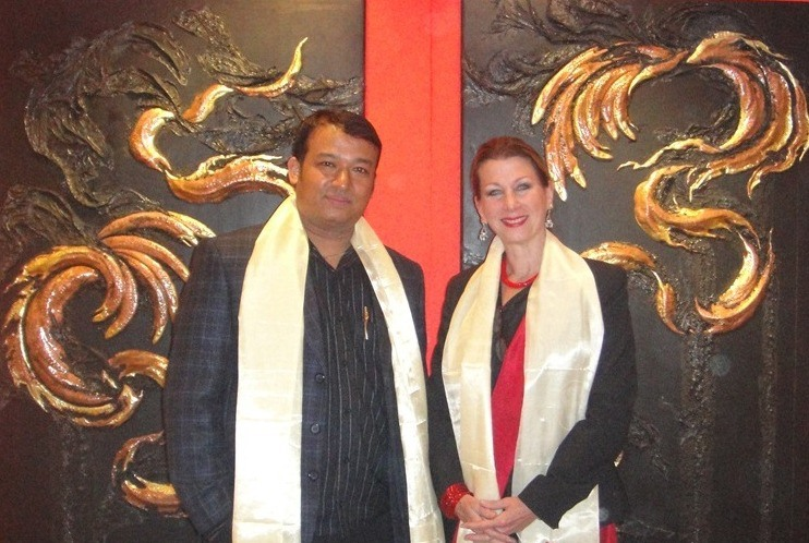 "Drdak with her guru, Master Rabindra Shakya with ""The Flying Nagas,"" Siddhartha Art Gallery, 2012."