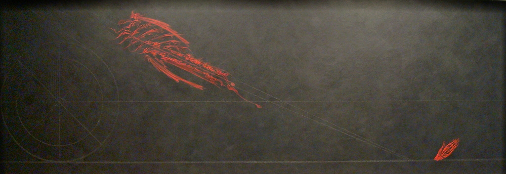 The Lion Attacking, 2004, acrylic with mineral particle threads on archival wood panel, 33H x 96W x 2D inches