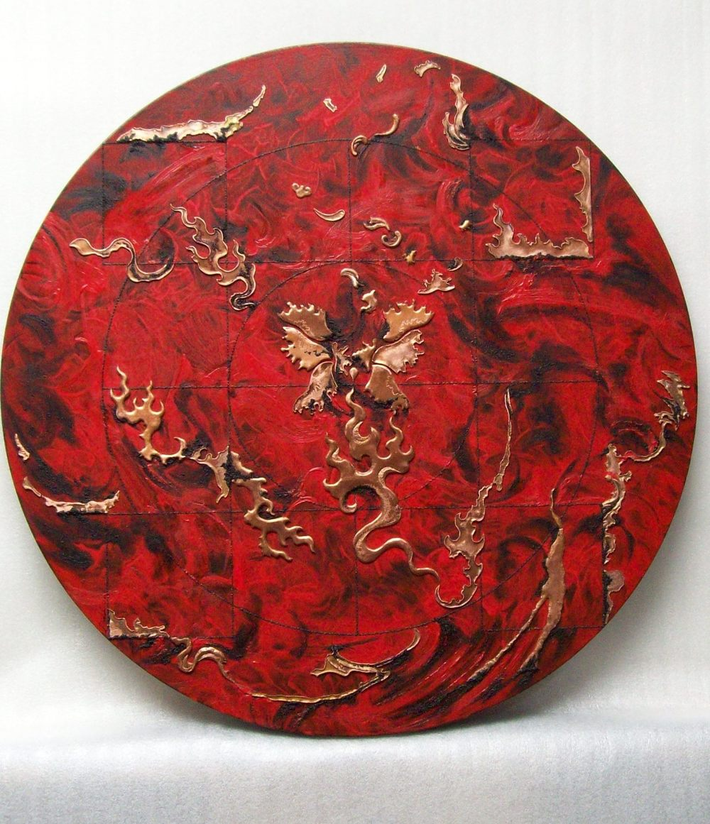 BURNING WORLD 2 , 2010, copper repoussé elements, mineral particles and threads, acrylic on archival wood panel, 20 diameter x .75 inches.   Collection of Shelley and Donald Rubin.