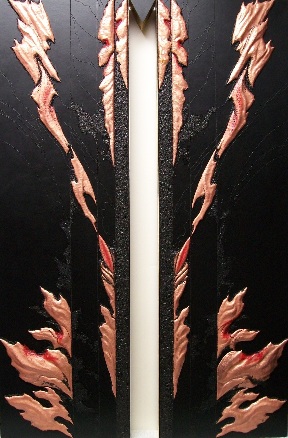 SHAKTI TRIPTYCH, Rajas , 2013.   Left image,  copper repoussé elements, mineral particles and threads and 23K on archival wood panel.   Collection of JoAnn and Robert D. Huth.