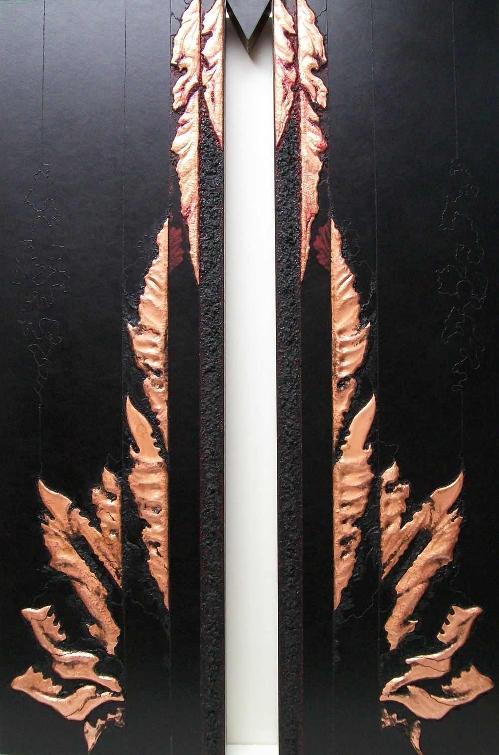SHAKTI TRIPTYCH, Tamas , 2013.  Right image, copper repoussé elements, mineral particles and threads and 23K on archival wood panel.   Collection of JoAnn and Robert D. Huth.