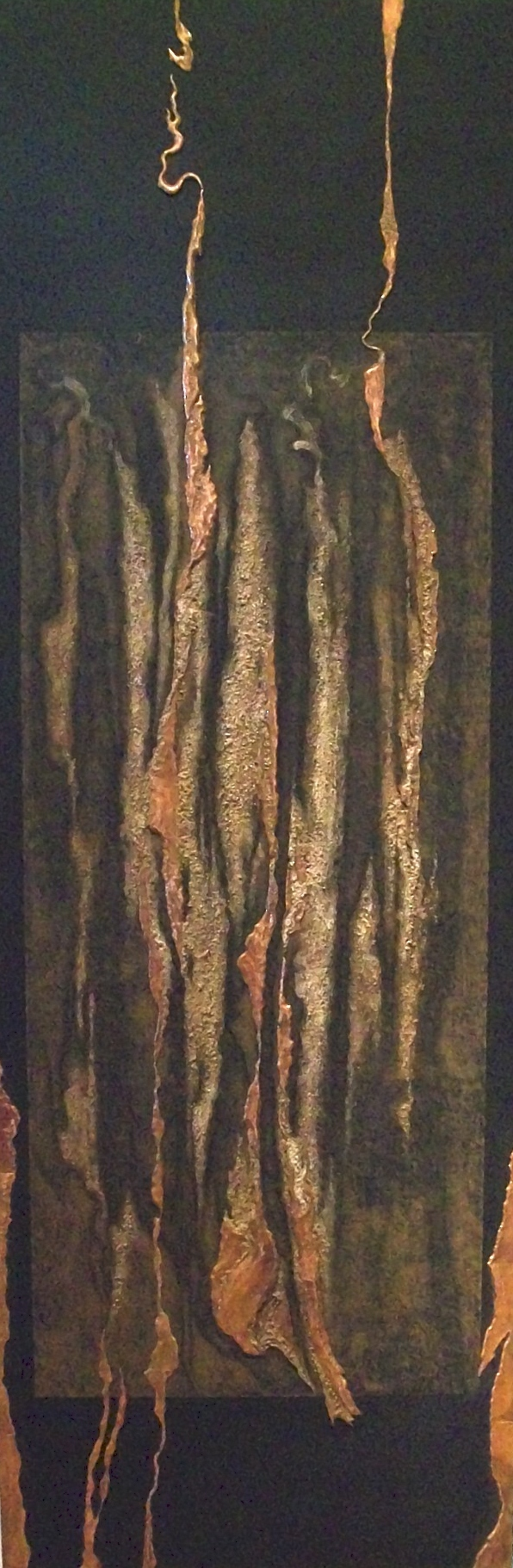 YARA DIPTYCH ,  Yara 1 , 2010, copper repoussé elements, mineral particles and acrylic on archival wood panel, 70H x 23.5W x 2D inches.