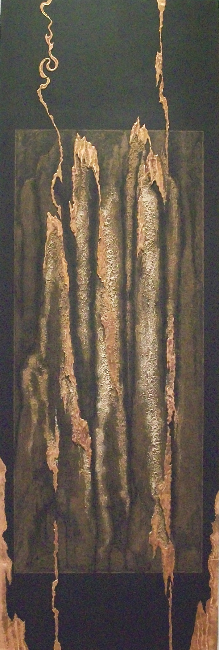 YARA DIPTYCH ,  Yara 2,  2010, copper repoussé elements, mineral particles and acrylic on archival wood panel, 70H x 23.5W x 2D inches.